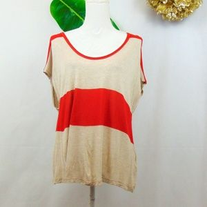 Soft Joie tan and red striped cap sleeve tee